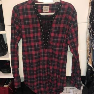 Flannel with lacing in front